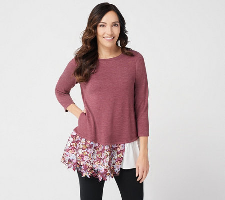LOGO Lounge by Lori Goldstein French Terry Top with Poplin Ruffle Hem