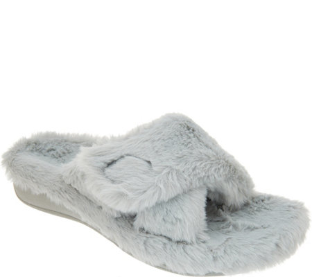 Vionic Adjustable Cross-Band Slippers - Relax Plush