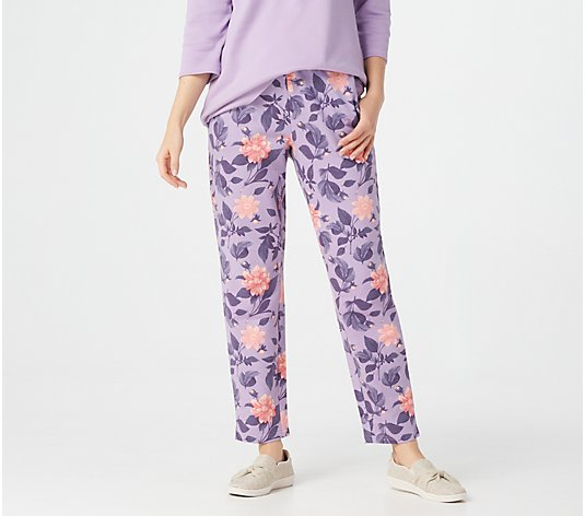 Denim & Co. Active Printed French Terry Slim-Leg Ankle Pants