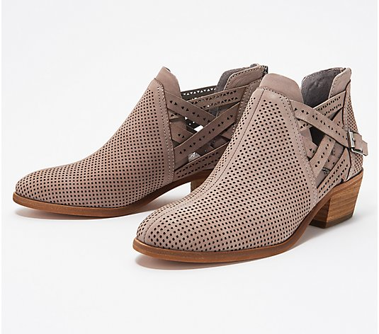 Vince Camuto Perforated Leather Buckle Booties - Pranika