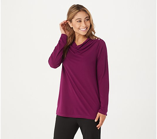 Susan Graver Liquid Knit Top with Ruching and Button Detail