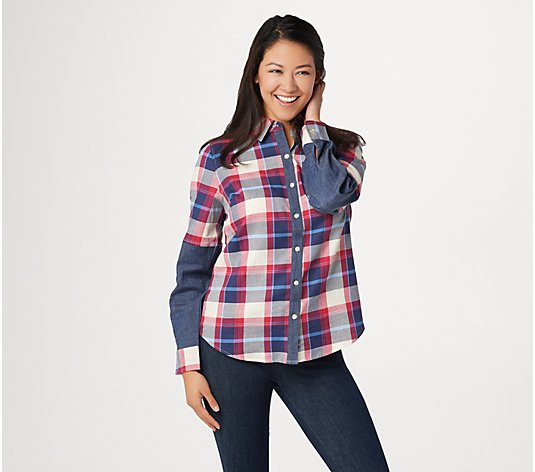 Denim & Co. Button-Front Plaid Shirt with Denim Detail