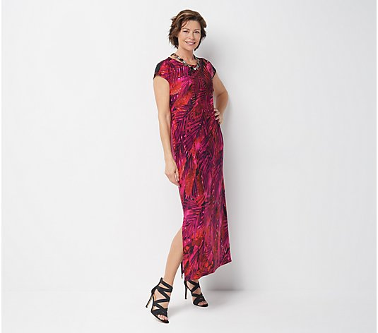 Bob Mackie Petite South Sea Feather Print Maxi Dress