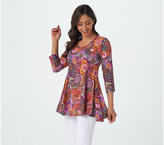 Attitudes by Renee Printed Godet Tunic with Pockets