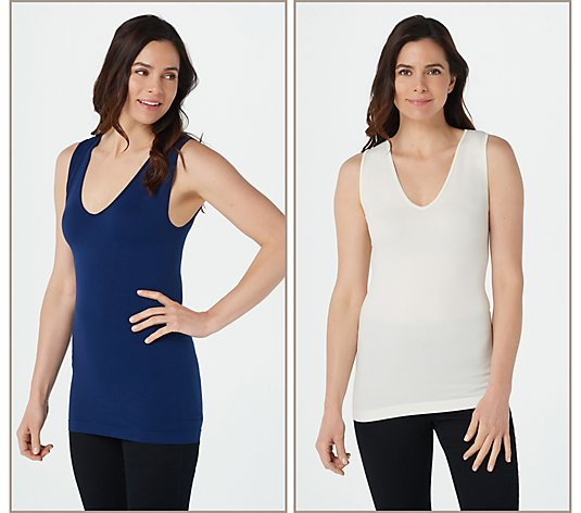 skinnytees Full Coverage V-Neck Layering Tank Set of 2