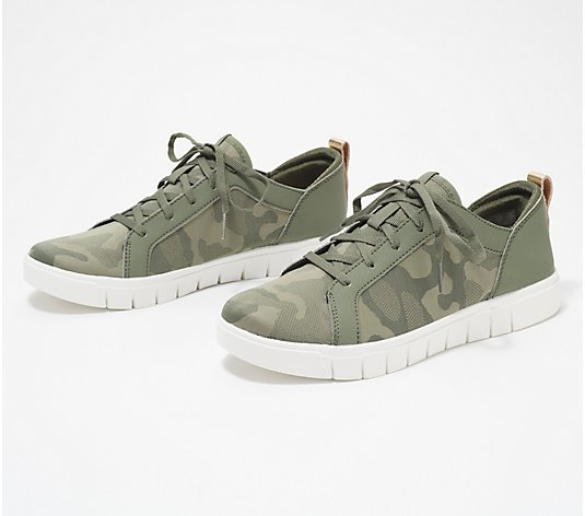 Ryka Perforated Suede Lace-Up Sneakers - Haiku Camo