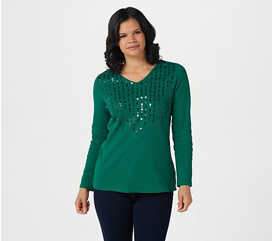 Quacker Factory Ribbed Sequin Long Sleeve Top
