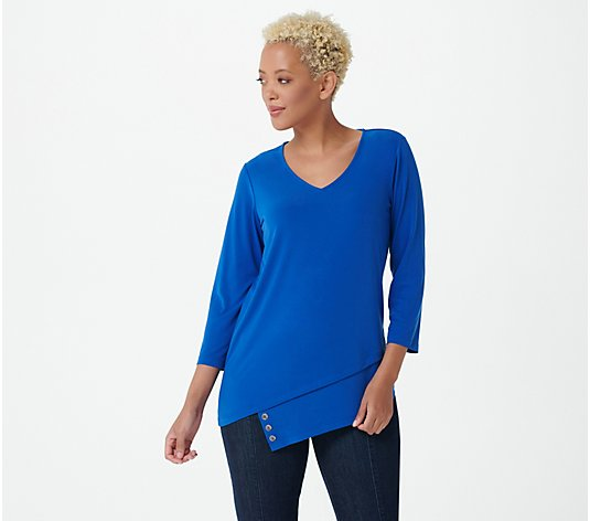 Susan Graver Regular Liquid Knit Top with Button Detail