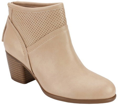 White Mountain Stacked Heel Ankle Boots Galveston
