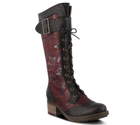 L'Artiste Tall Leather Combat Boots - Kisha