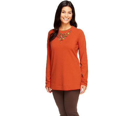 Susan Graver French Terry Long Sleeve Embellished Tunic