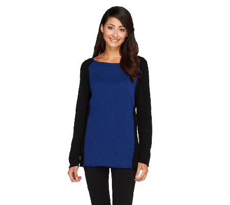 Susan Graver Plush Knit Unfinished Hem Colorblock Sweater