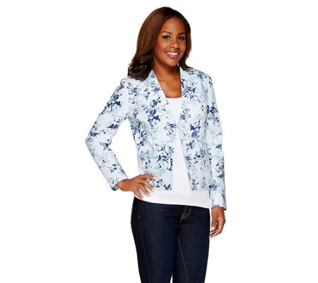 Dennis Basso Floral Printed Blazer with Pointed Hem