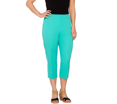 Susan Graver Weekend Coastal Stretch Comfort Waist Capri Pants