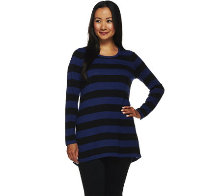 Susan Graver Striped Cotton Rayon Nylon Button Back Sweater
