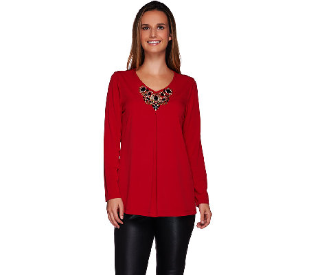 Susan Graver Artisan Liquid Knit V-neck Embellished Long Sleeve Top
