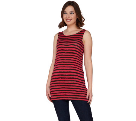 LOGO Layers by Lori Goldstein Striped Straight Hem Knit Tank