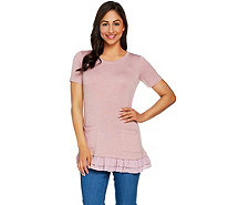 LOGO Lounge by Lori Goldstein French Terry Top w/ Pockets and Trim - A278325