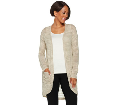 H by Halston Textured Space Dye Open Front Cardigan