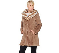 Dennis Basso Faux Fur Coat with Removable Hood and Collar - A286325