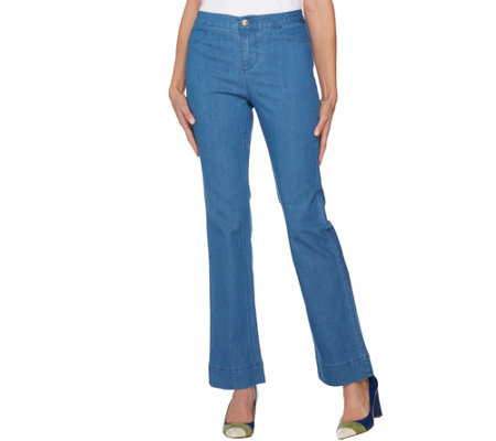 C. Wonder Petite Denim Boot Cut Fly Front Jeans
