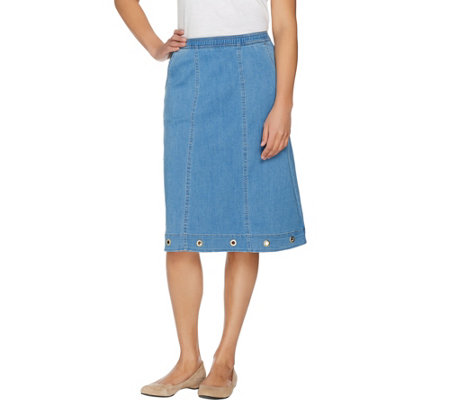 Denim & Co. Pull On Stretch Denim Skirt with Pockets & Grommet Detail