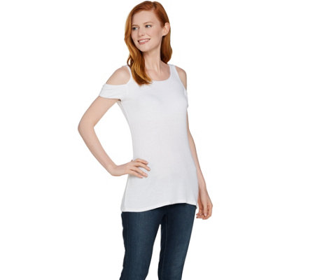 Lisa Rinna Collection Cold Shoulder Knit Top