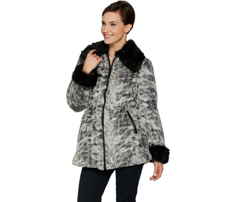 """As Is"" Dennis Basso Sterling Collection Zip Front Faux Fur Anorak Coat"