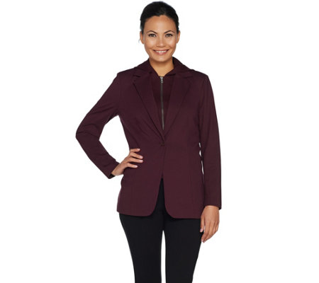 Kelly by Clinton Kelly Ponte Blazer w/ Removable Hoodie