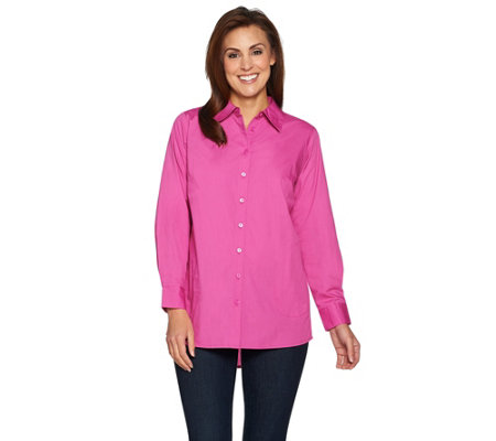 """As Is"" Joan Rivers Boyfriend Shirt with Curved Back Seam"