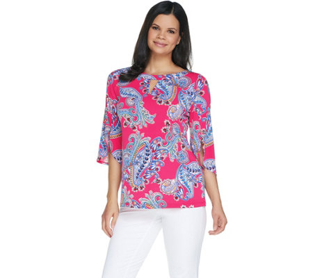 Susan Graver Printed Liquid Knit Top with Keyhole
