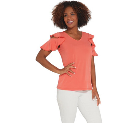 Susan Graver Liquid Knit Top with Crochet Trim