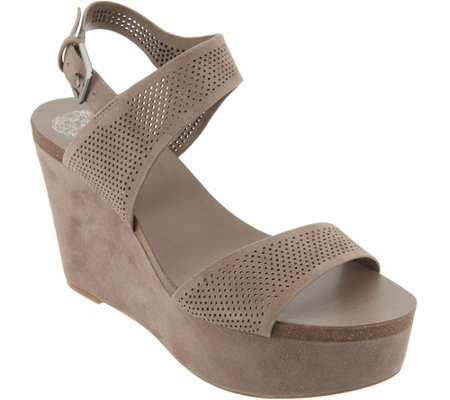 Vince Camuto Nubuck Leather Ankle Strap Wedges - Vessinta