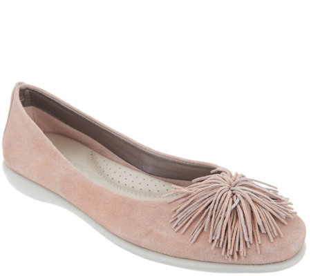 The Flexx Leather Flats - Pom Pom