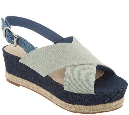 Marc Fisher Denim Slingback Espadrille Wedges - Flama