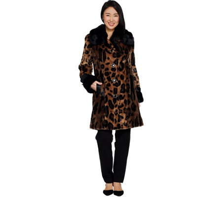 """As Is"" Dennis Basso Platinum Collection Animal Print Coat"