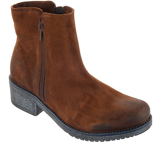 Naot Suede Double Zipper Ankle Boots - Wander