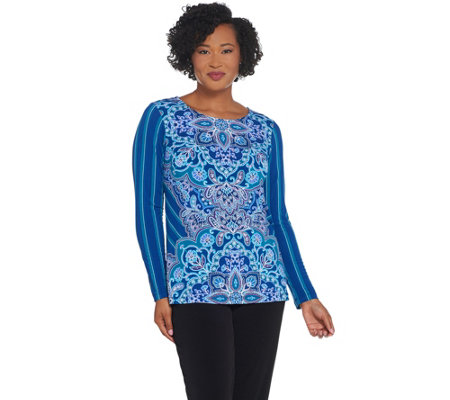 Bob Mackie Paisley And Stripe Print Knit Top