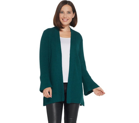 H by Halston Tulip Sleeve Open Front Cardigan