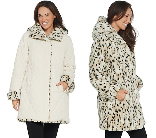 Dennis Basso Reversible Diamond Quilted and Faux Fur Coat