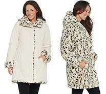 Dennis Basso Reversible Diamond Quilted and Faux Fur Coat - A345025