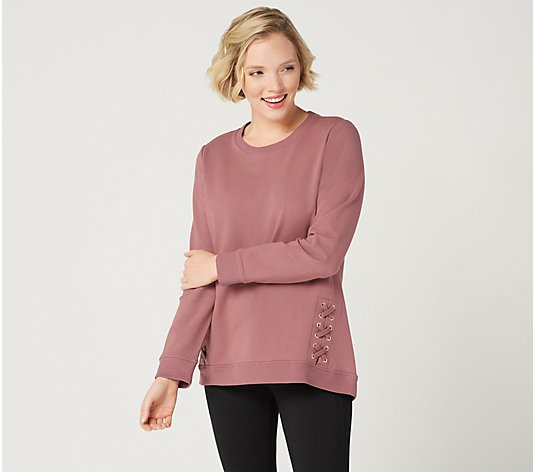 Denim & Co. Active French Terry Long-Sleeve Top with Grommets