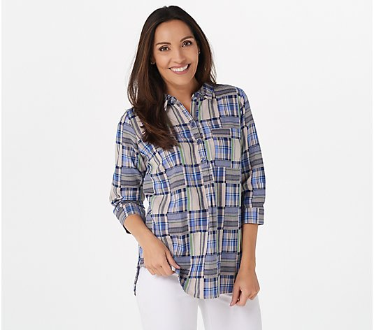 Joan Rivers Patchwork Plaid Tunic Top