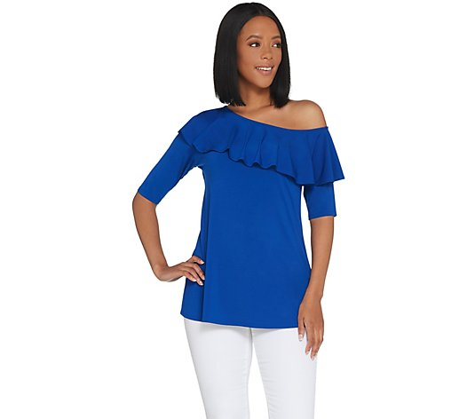 """As Is"" H by Halston Jet Set Jersey Ruffle One-Shoulder Top"