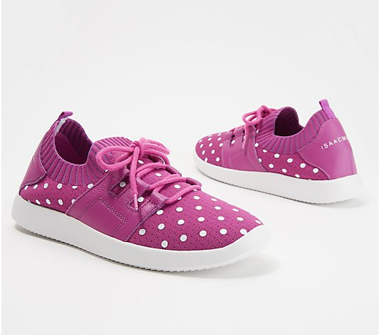 Isaac Mizrahi Live! Polka-Dot Lace-Up Knit Sneaker