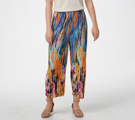 Susan Graver Printed Pleated Knit Pull On Crop Pants