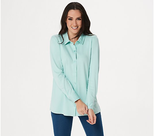 """As Is"" Martha Stewart Luxe Cotton Button Front Knit Blouse"