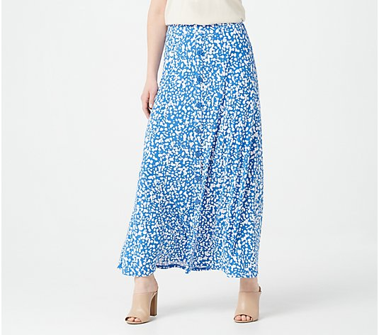 Susan Graver Regular Print or Solid Liquid Knit Maxi Skirt