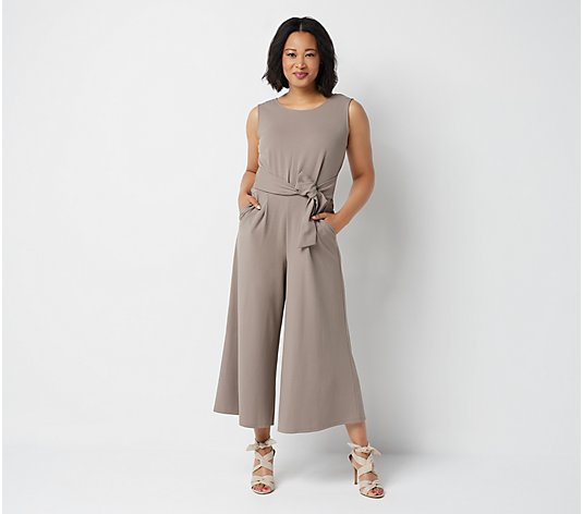 """As Is"" Du Jour Regular Cropped Wide Leg Knit Jumpsuit with Tie Waist"