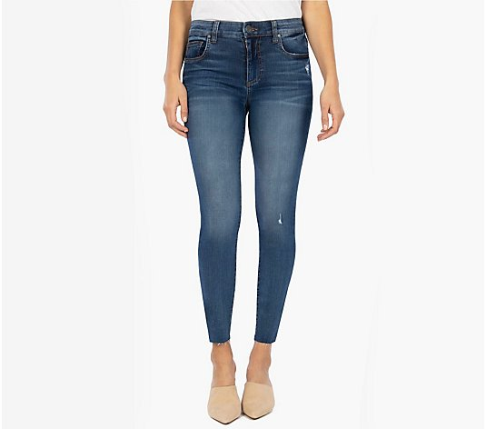 KUT from the Kloth Mia High Rise Skinny with Raw Hem